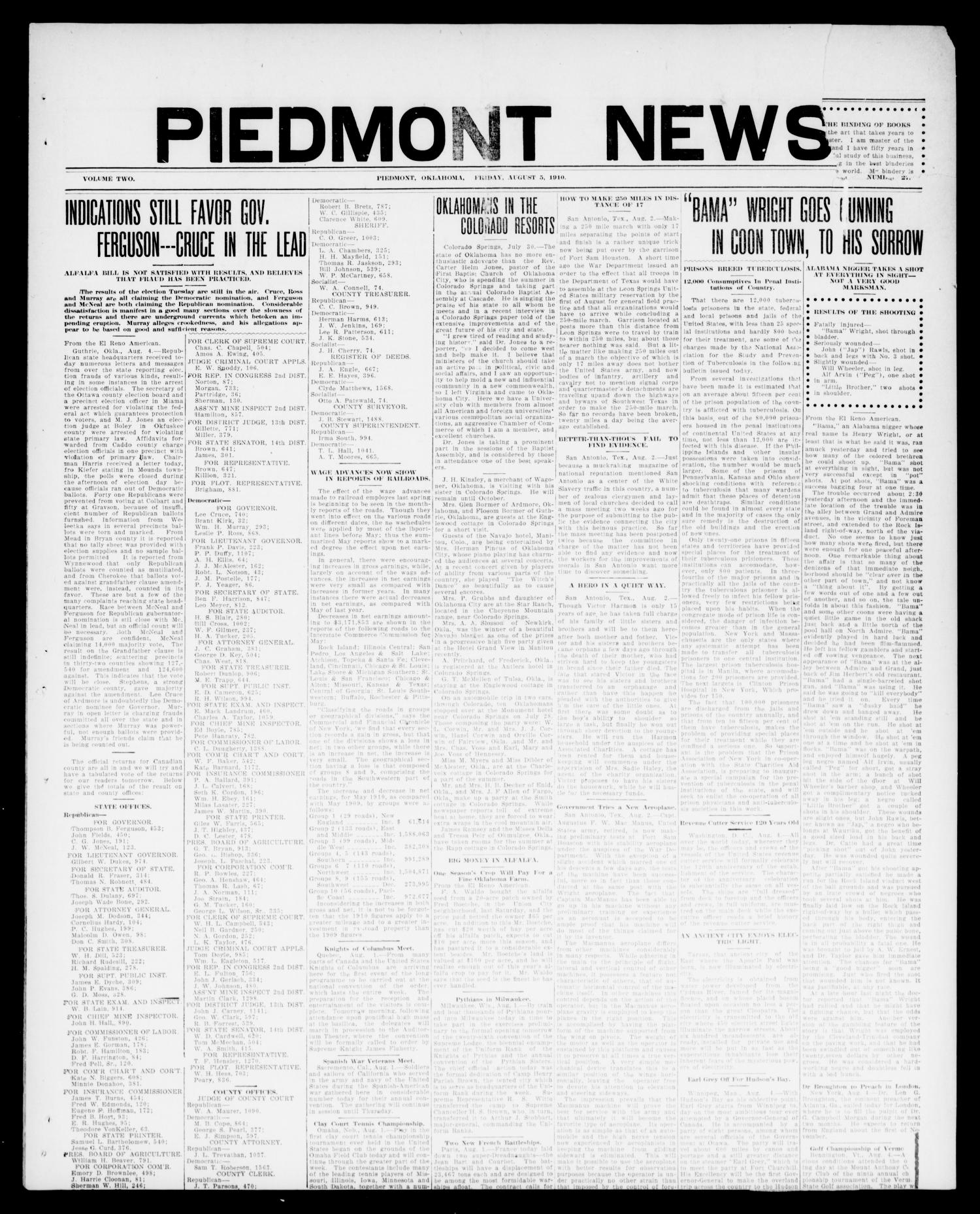 Piedmont News (Piedmont, Okla.), Vol. 2, No. 27, Ed. 1 Friday, August 5, 1910                                                                                                      [Sequence #]: 1 of 4