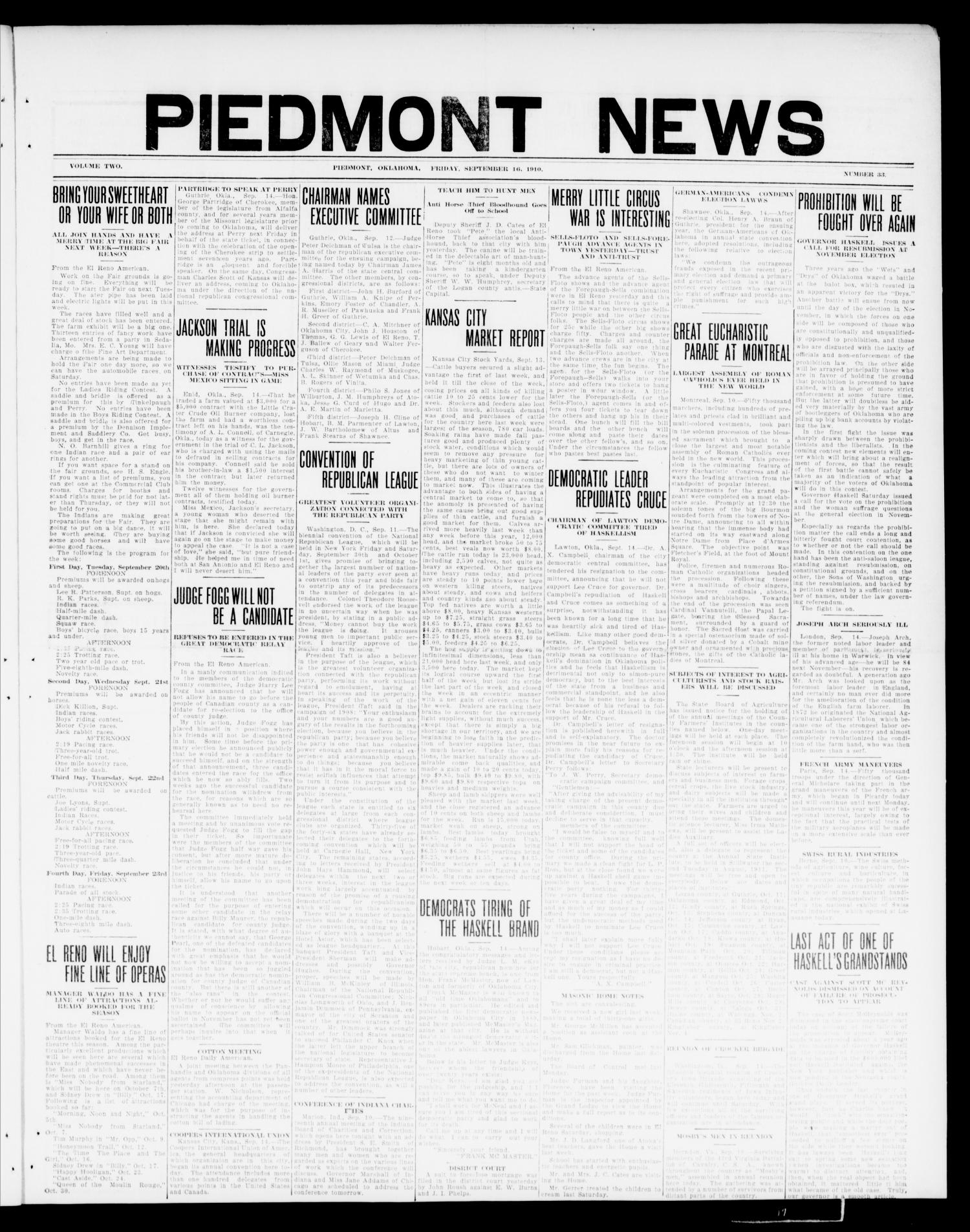 Piedmont News (Piedmont, Okla.), Vol. 2, No. 33, Ed. 1 Friday, September 16, 1910                                                                                                      [Sequence #]: 1 of 4