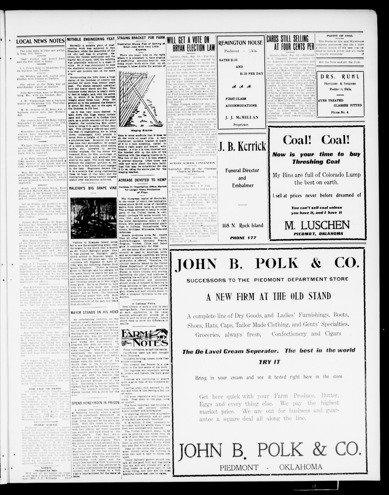 Piedmont News (Piedmont, Okla.), Vol. 2, No. 33, Ed. 1 Friday, September 16, 1910                                                                                                      [Sequence #]: 3 of 4
