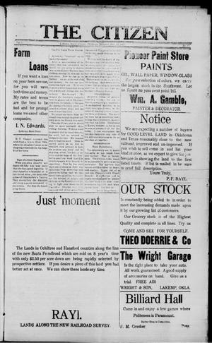 Primary view of The Citizen (LaKemp, Okla.), Vol. 1, No. 38, Ed. 1 Thursday, March 22, 1917