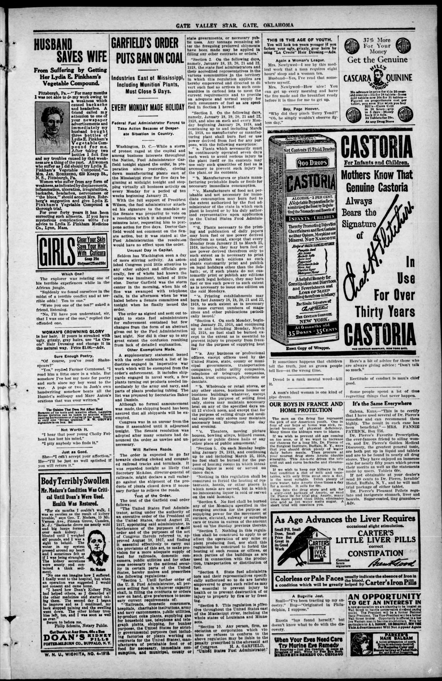 Gate Valley Star (Gate, Okla.), Vol. 12, No. 44, Ed. 1 Thursday, January 24, 1918                                                                                                      [Sequence #]: 3 of 8