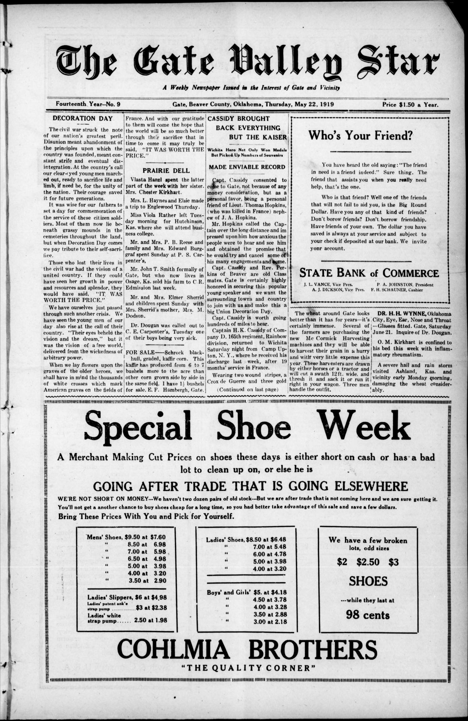 The Gate Valley Star (Gate, Okla.), Vol. 14, No. 9, Ed. 1 Thursday, May 22, 1919                                                                                                      [Sequence #]: 1 of 10