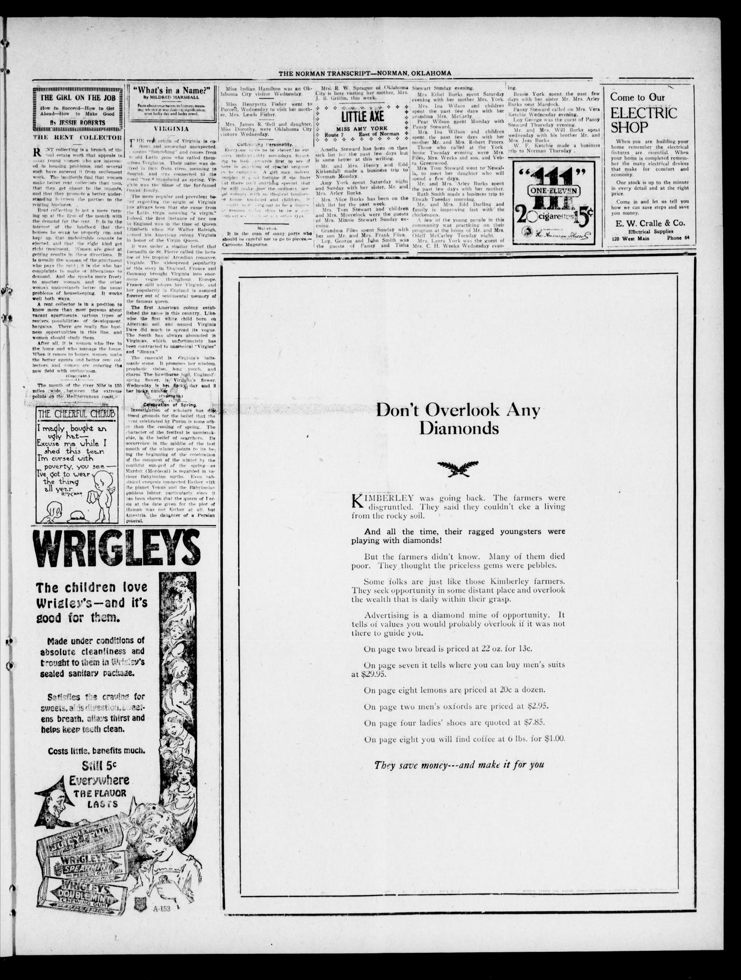 The Norman Transcript (Norman, Okla.), Vol. 9, No. 63, Ed. 1 Thursday, May 26, 1921                                                                                                      [Sequence #]: 3 of 8