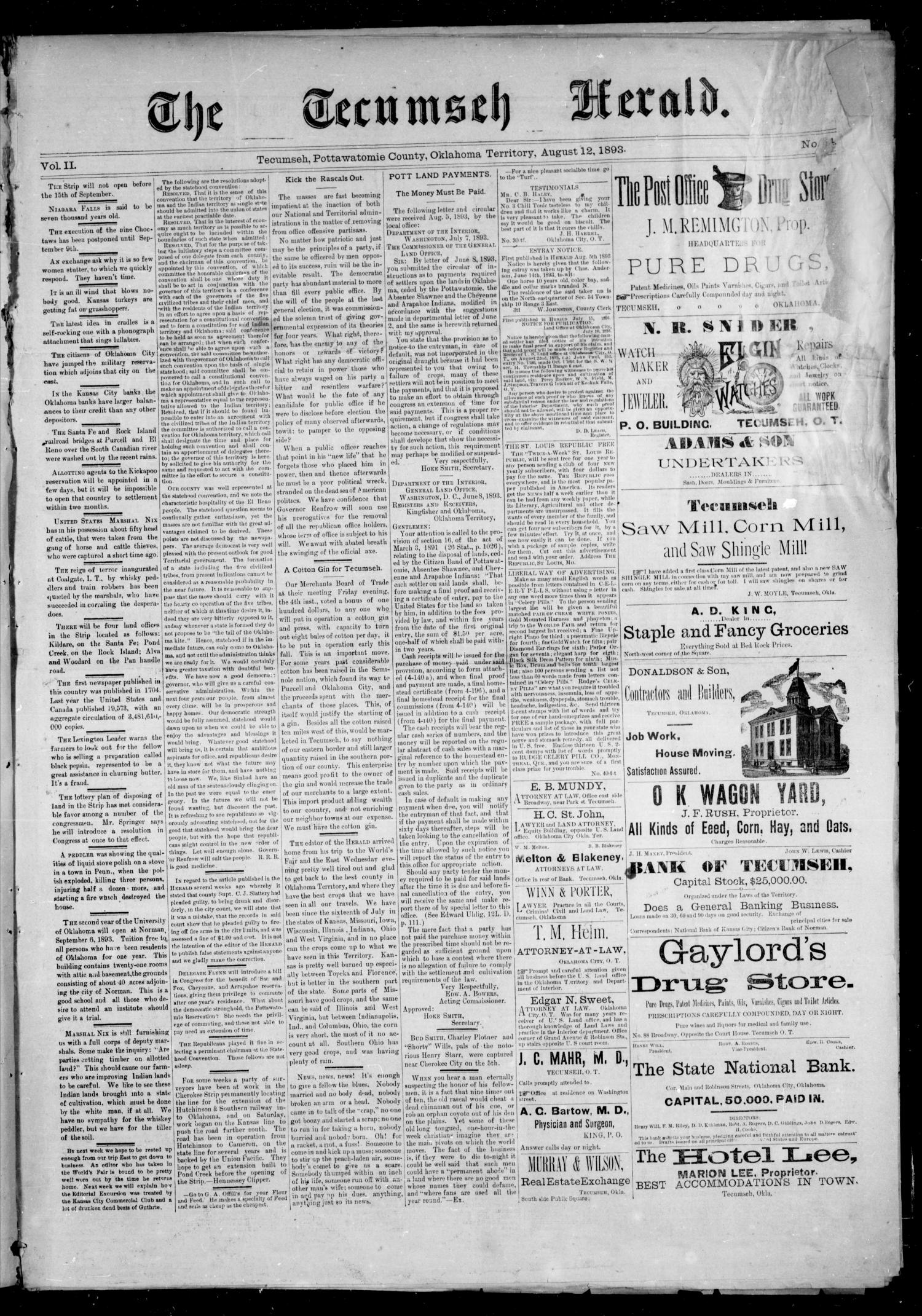 The Tecumseh Herald. (Tecumseh, Okla. Terr.), Vol. 2, No. 44, Ed. 1 Saturday, August 12, 1893                                                                                                      [Sequence #]: 1 of 4