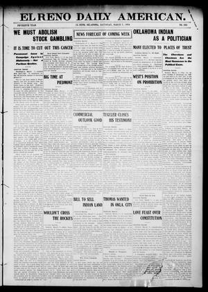 Primary view of object titled 'El Reno Daily American. (El Reno, Okla.), Vol. 15, No. 203, Ed. 1 Saturday, March 7, 1908'.