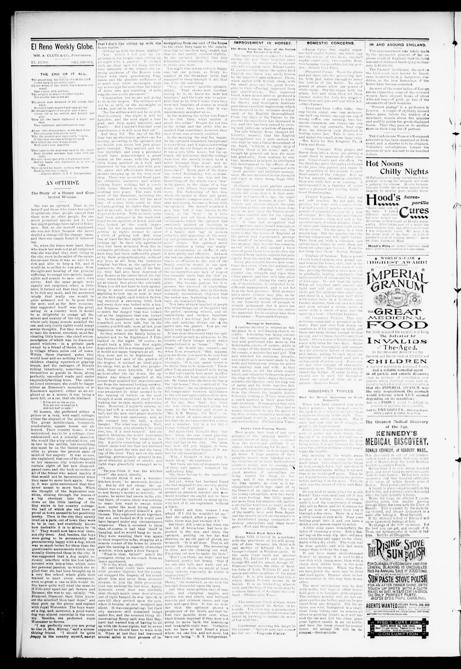 El Reno Weekly Globe. (El Reno, Okla.), Vol. 1, No. 35, Ed. 1 Friday, October 26, 1894                                                                                                      [Sequence #]: 2 of 9
