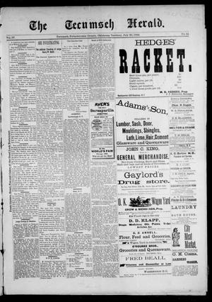 Primary view of object titled 'The Tecumseh Herald. (Tecumseh, Okla. Terr.), Vol. 4, No. 41, Ed. 1 Saturday, July 20, 1895'.