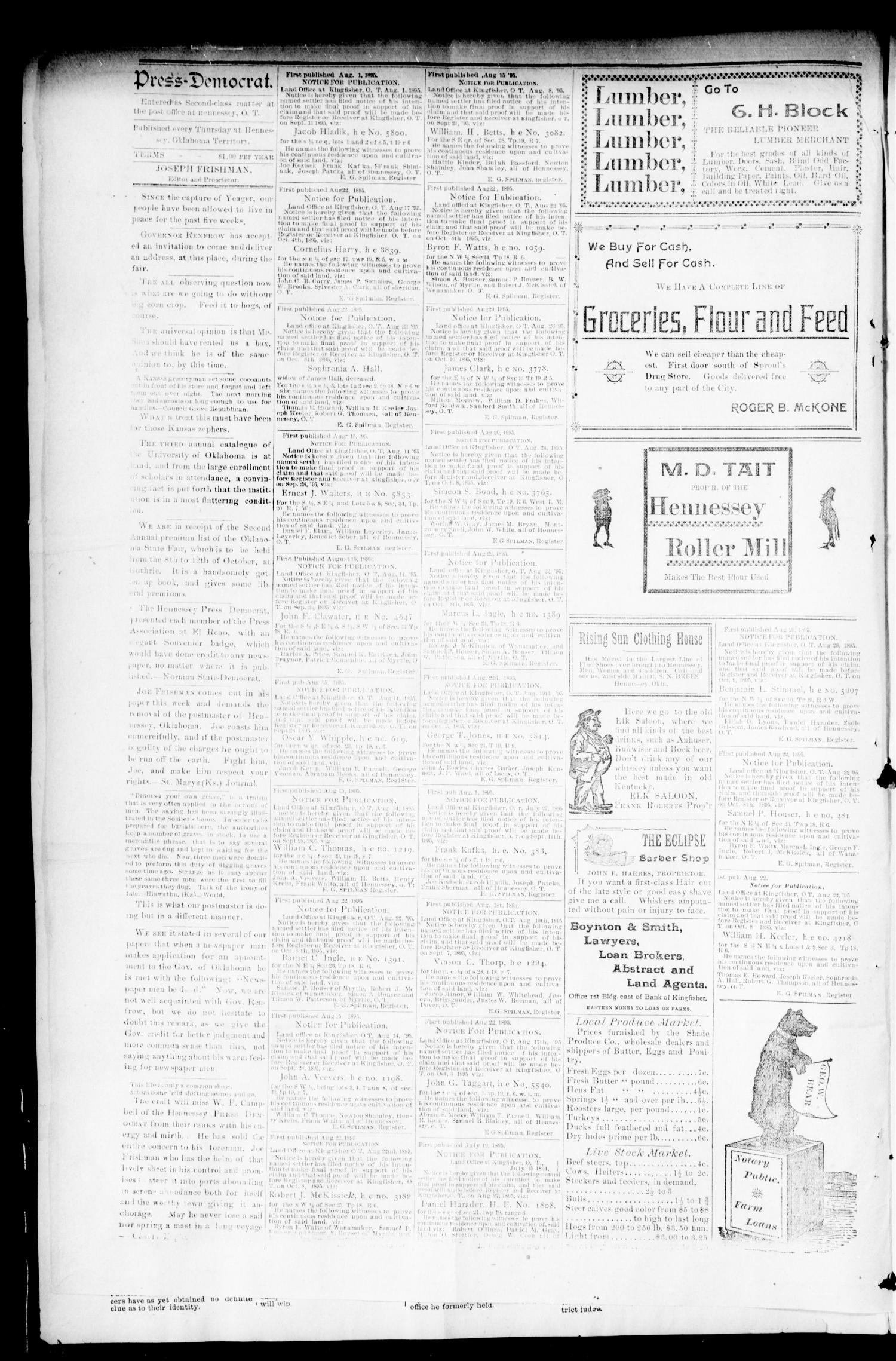 The Press Democrat. (Hennessey, Okla.), Vol. 3, No. 50, Ed. 1 Thursday, September 5, 1895                                                                                                      [Sequence #]: 4 of 8