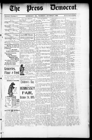 Primary view of object titled 'The Press Democrat. (Hennessey, Okla.), Vol. 3, No. 4, Ed. 1 Thursday, October 17, 1895'.