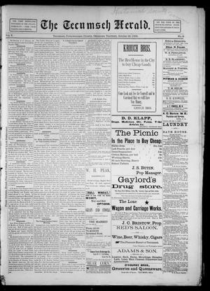 Primary view of object titled 'The Tecumseh Herald. (Tecumseh, Okla. Terr.), Vol. 5, No. 3, Ed. 1 Saturday, October 26, 1895'.