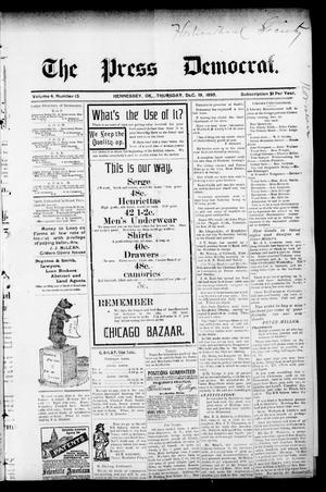 Primary view of object titled 'The Press Democrat. (Hennessey, Okla.), Vol. 3, No. 13, Ed. 1 Thursday, December 19, 1895'.