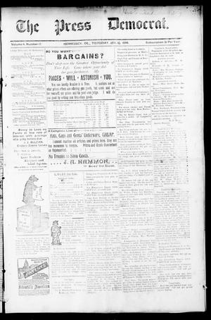 Primary view of object titled 'The Press Democrat. (Hennessey, Okla.), Vol. 3, No. 17, Ed. 1 Thursday, January 16, 1896'.