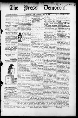 Primary view of object titled 'The Press Democrat. (Hennessey, Okla.), Vol. 3, No. 25, Ed. 1 Thursday, March 12, 1896'.