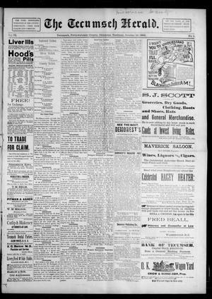 Primary view of object titled 'The Tecumseh Herald. (Tecumseh, Okla. Terr.), Vol. 6, No. 1, Ed. 1 Saturday, October 10, 1896'.
