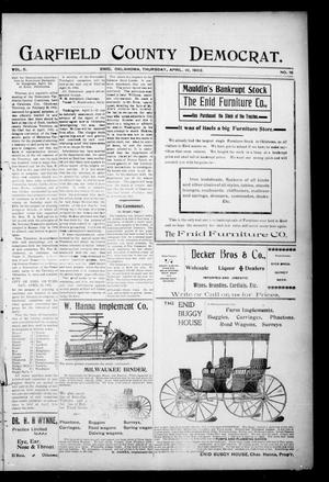 Primary view of object titled 'Garfield County Democrat. (Enid, Okla.), Vol. 5, No. 15, Ed. 1 Thursday, April 10, 1902'.