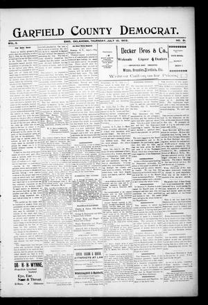 Primary view of object titled 'Garfield County Democrat. (Enid, Okla.), Vol. 5, No. 28, Ed. 1 Thursday, July 10, 1902'.