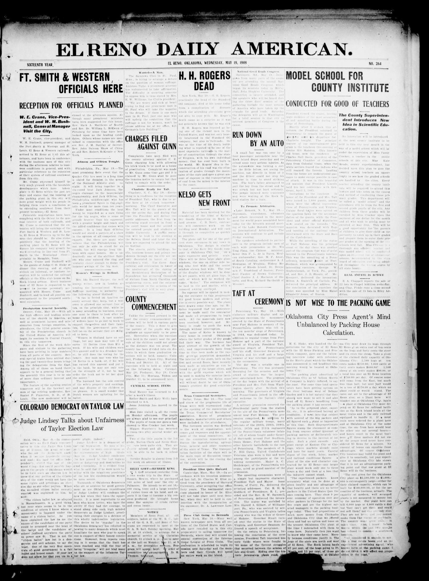 El Reno Daily American. (El Reno, Okla.), Vol. 16, No. 264, Ed. 1 Wednesday, May 19, 1909                                                                                                      [Sequence #]: 1 of 4
