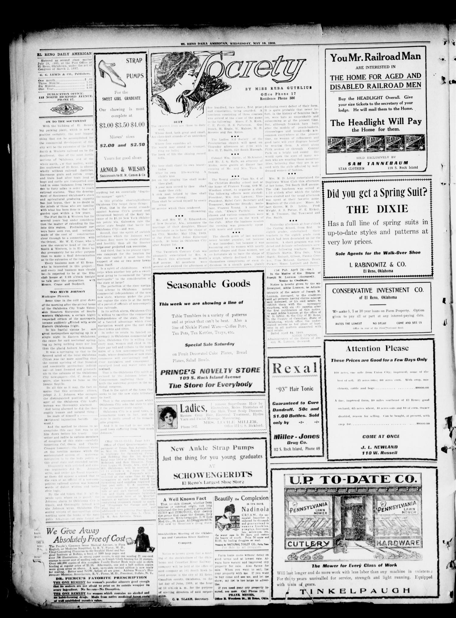 El Reno Daily American. (El Reno, Okla.), Vol. 16, No. 264, Ed. 1 Wednesday, May 19, 1909                                                                                                      [Sequence #]: 2 of 4