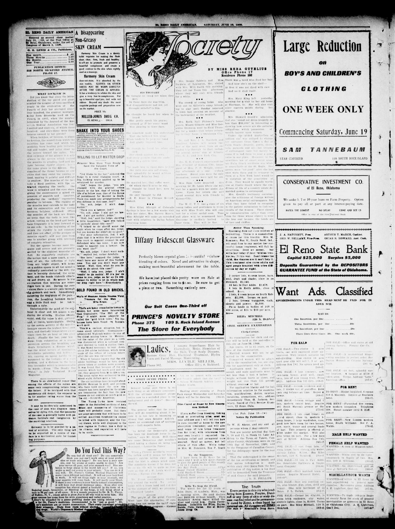 El Reno Daily American. (El Reno, Okla.), Vol. 16, No. 291, Ed. 1 Saturday, June 19, 1909                                                                                                      [Sequence #]: 2 of 4