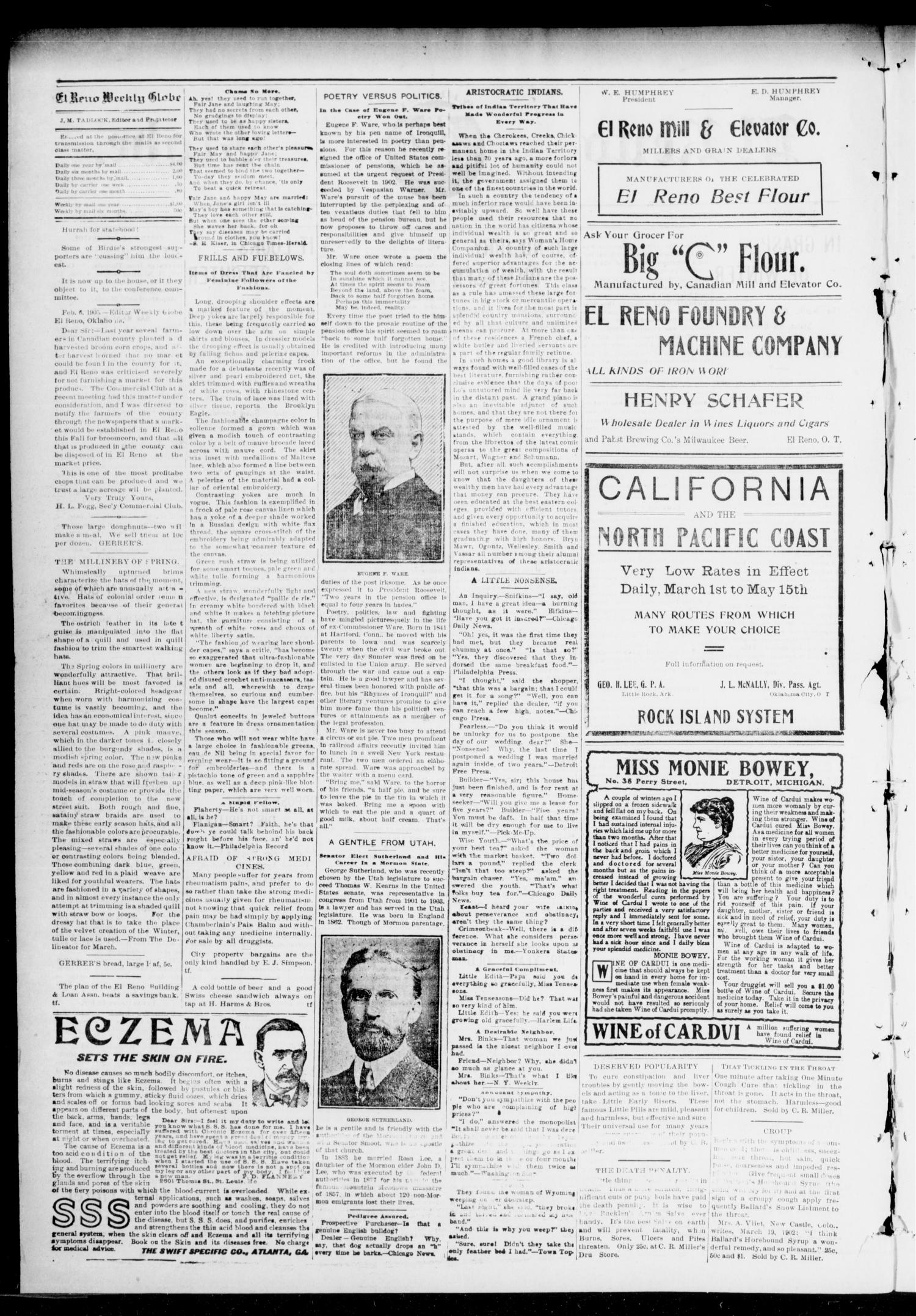 El Reno Weekly Globe. (El Reno, Okla.), Vol. 11, No. 48, Ed. 2 Friday, February 10, 1905                                                                                                      [Sequence #]: 2 of 6
