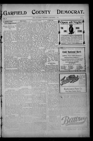 Primary view of object titled 'Garfield County Democrat. (Enid, Okla.), Vol. 11, No. 45, Ed. 1 Wednesday, September 4, 1907'.
