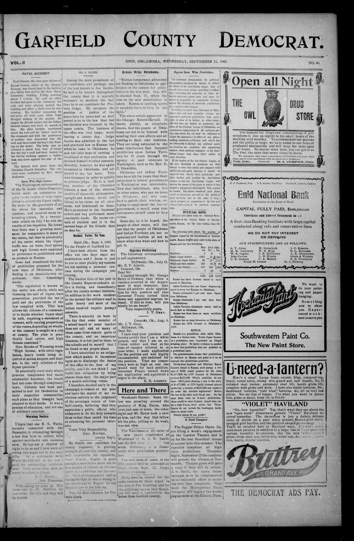 Garfield County Democrat. (Enid, Okla.), Vol. 11, No. 46, Ed. 1 Wednesday, September 11, 1907                                                                                                      [Sequence #]: 1 of 8