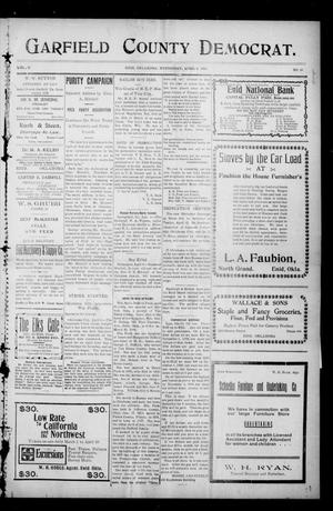 Primary view of object titled 'Garfield County Democrat. (Enid, Okla.), Vol. 11, No. 22, Ed. 1 Wednesday, April 8, 1908'.