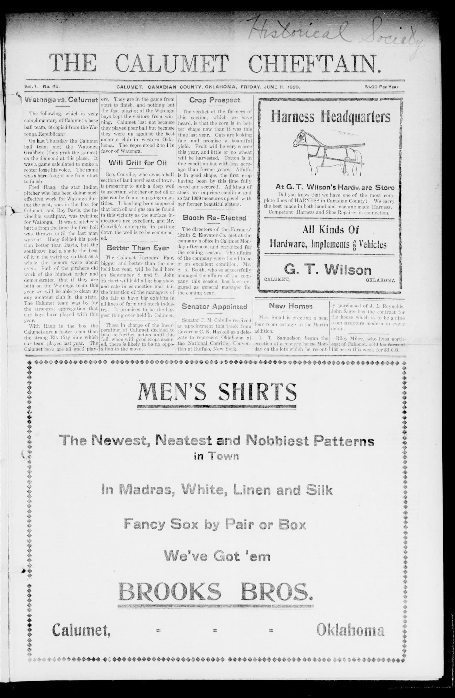 The Calumet Chieftain. (Calumet, Okla.), Vol. 1, No. 45, Ed. 1 Friday, June 11, 1909                                                                                                      [Sequence #]: 1 of 8