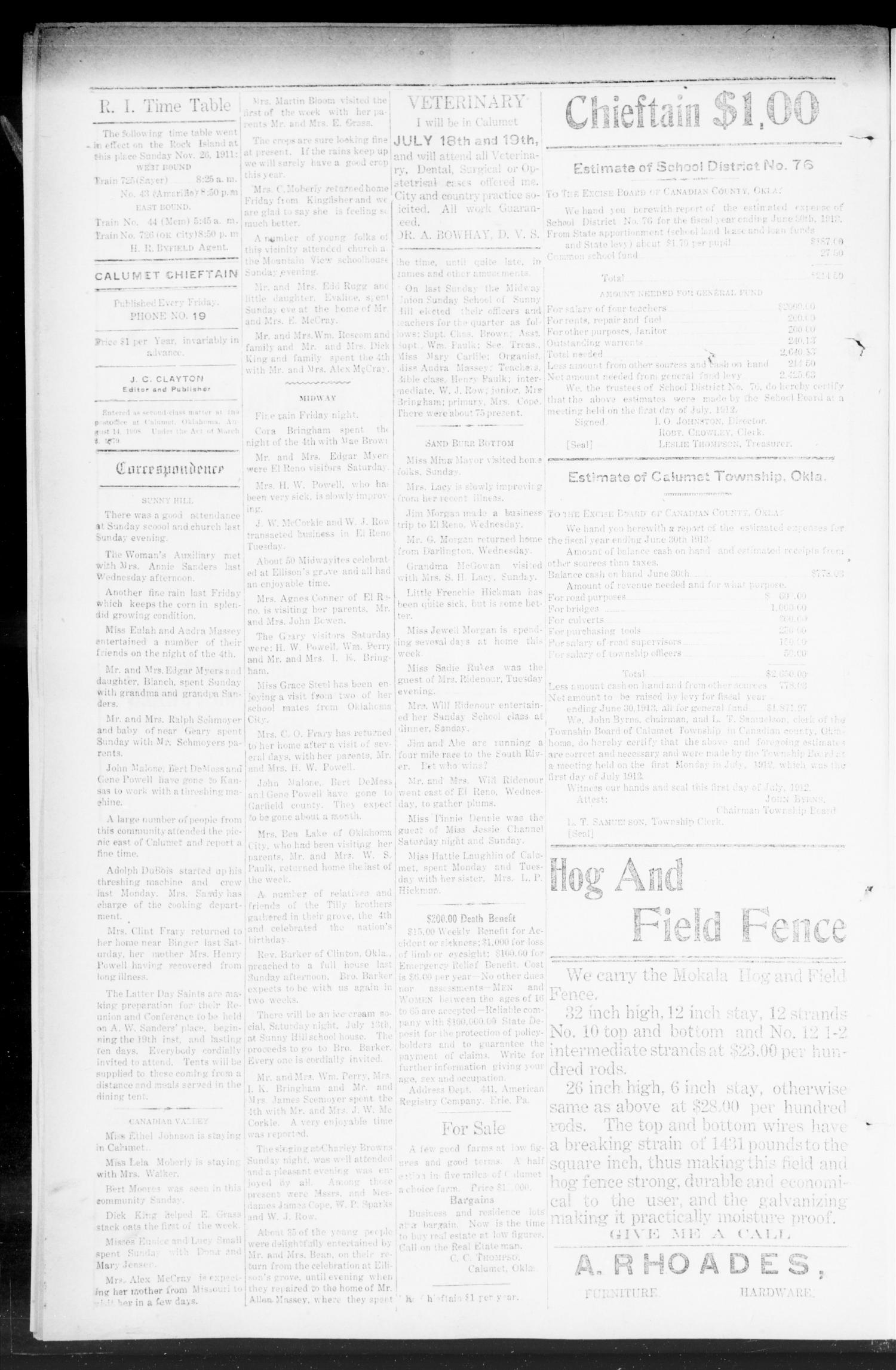 The Calumet Chieftain. (Calumet, Okla.), Vol. 4, No. 52, Ed. 1 Friday, July 12, 1912                                                                                                      [Sequence #]: 4 of 8