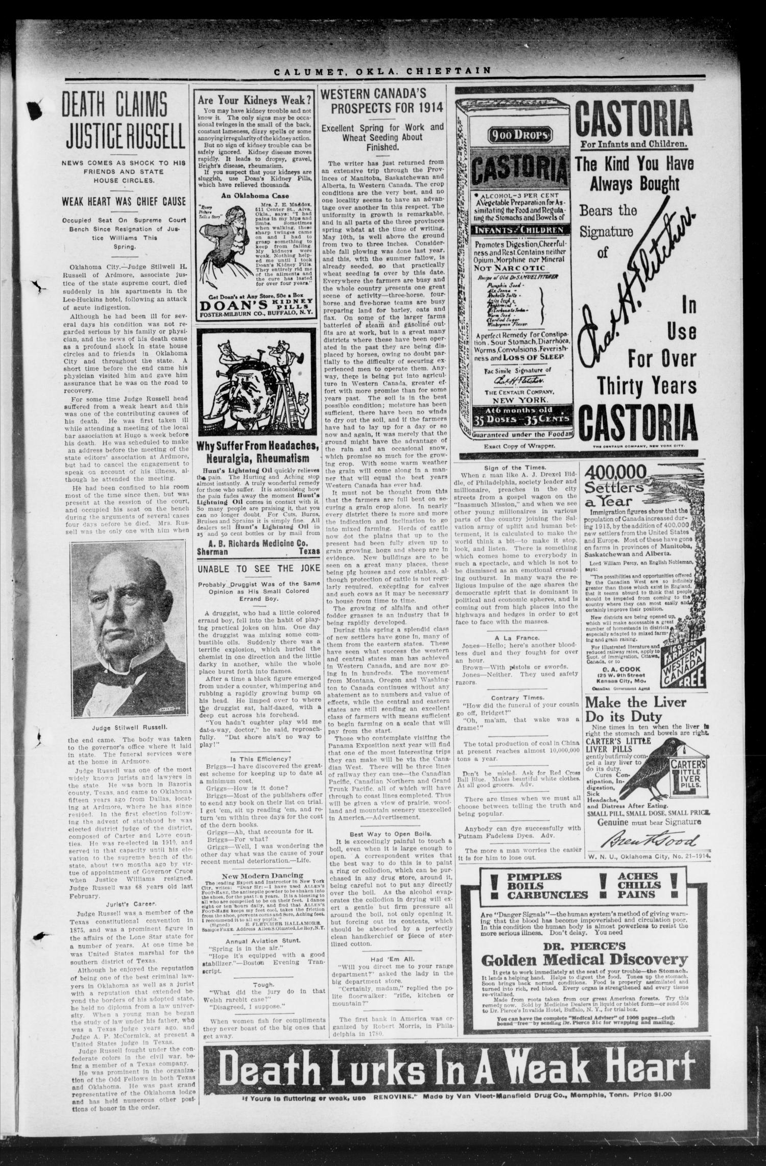 The Calumet Chieftain. (Calumet, Okla.), Vol. 5, No. 43, Ed. 1 Friday, May 22, 1914                                                                                                      [Sequence #]: 7 of 8