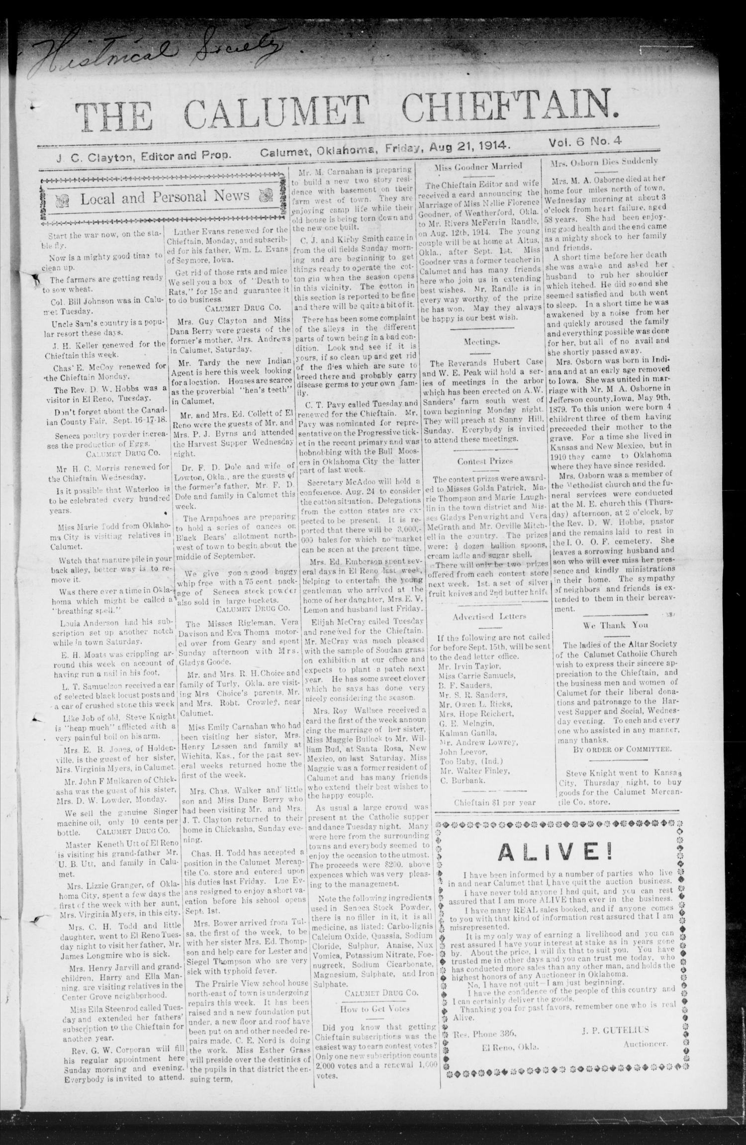 The Calumet Chieftain. (Calumet, Okla.), Vol. 6, No. 4, Ed. 1 Friday, August 21, 1914                                                                                                      [Sequence #]: 1 of 8