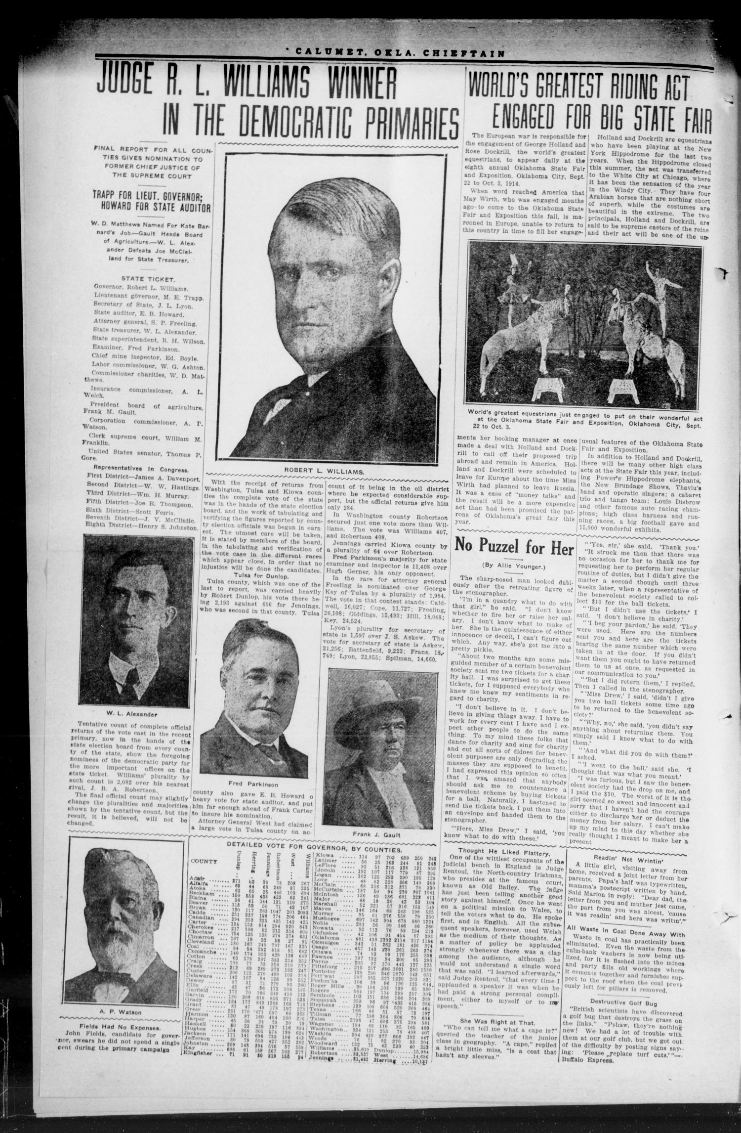 The Calumet Chieftain. (Calumet, Okla.), Vol. 6, No. 4, Ed. 1 Friday, August 21, 1914                                                                                                      [Sequence #]: 2 of 8