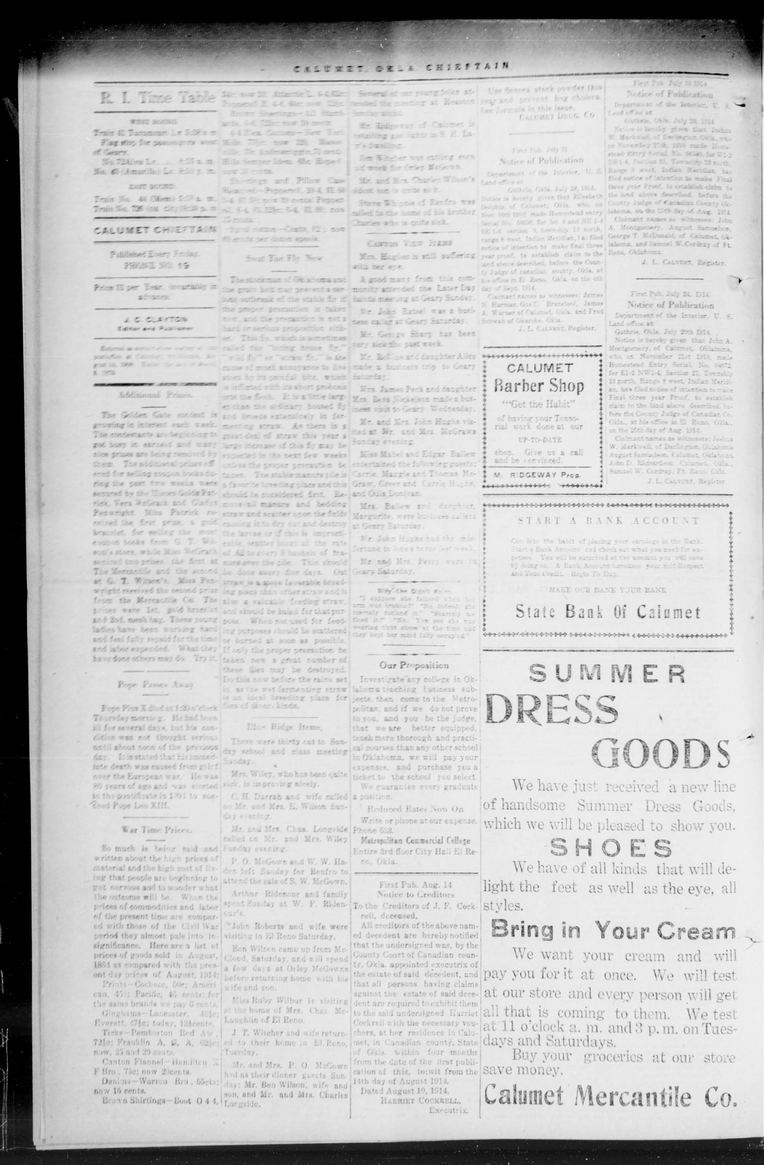 The Calumet Chieftain. (Calumet, Okla.), Vol. 6, No. 4, Ed. 1 Friday, August 21, 1914                                                                                                      [Sequence #]: 4 of 8