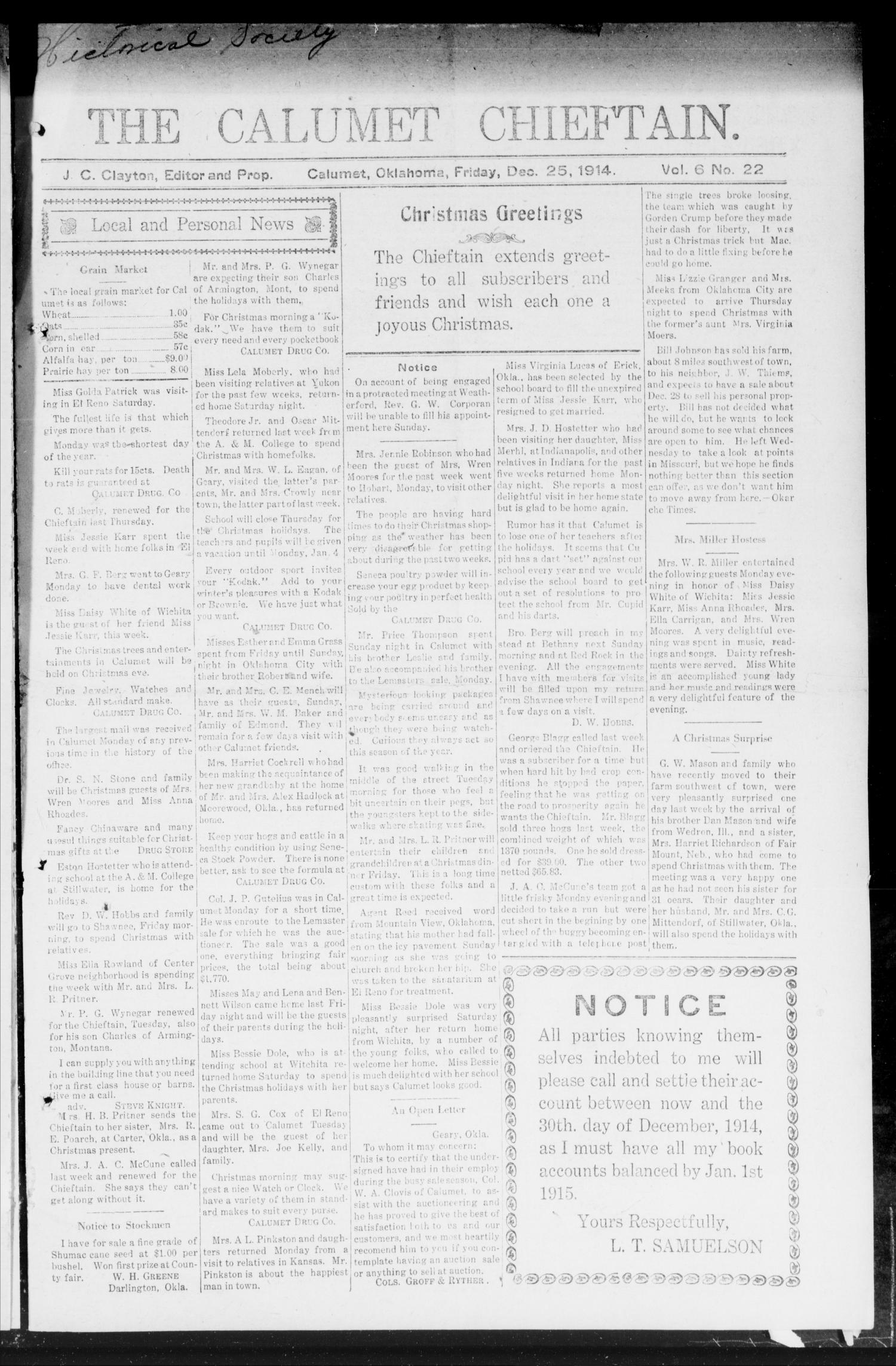 The Calumet Chieftain. (Calumet, Okla.), Vol. 6, No. 22, Ed. 1 Friday, December 25, 1914                                                                                                      [Sequence #]: 1 of 10
