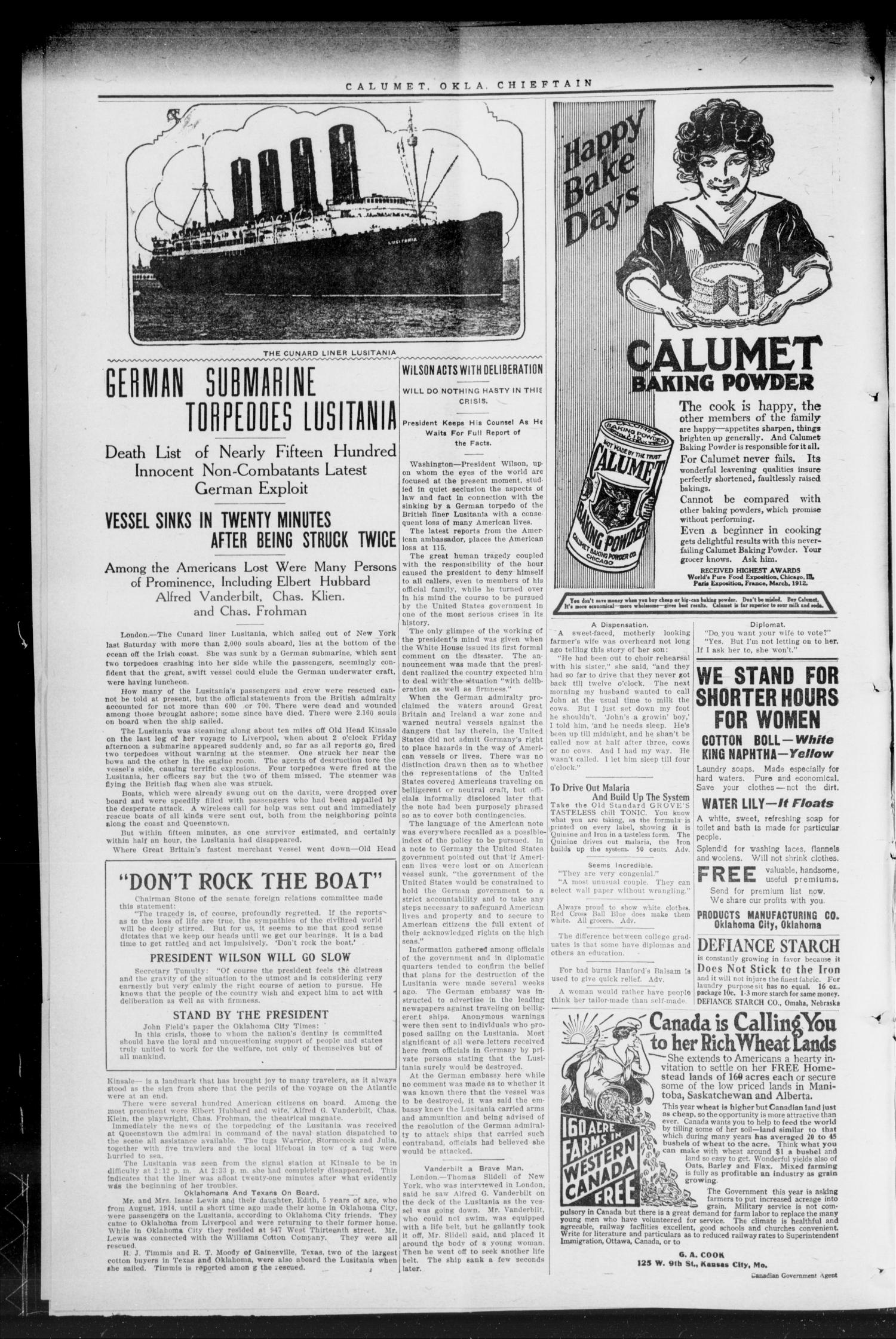 The Calumet Chieftain. (Calumet, Okla.), Vol. 6, No. 42, Ed. 1 Friday, May 14, 1915                                                                                                      [Sequence #]: 2 of 8
