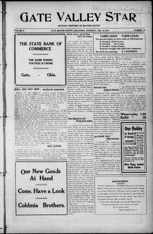 Primary view of object titled 'Gate Valley Star (Gate, Okla.), Vol. 10, No. 48, Ed. 1 Thursday, February 24, 1916'.