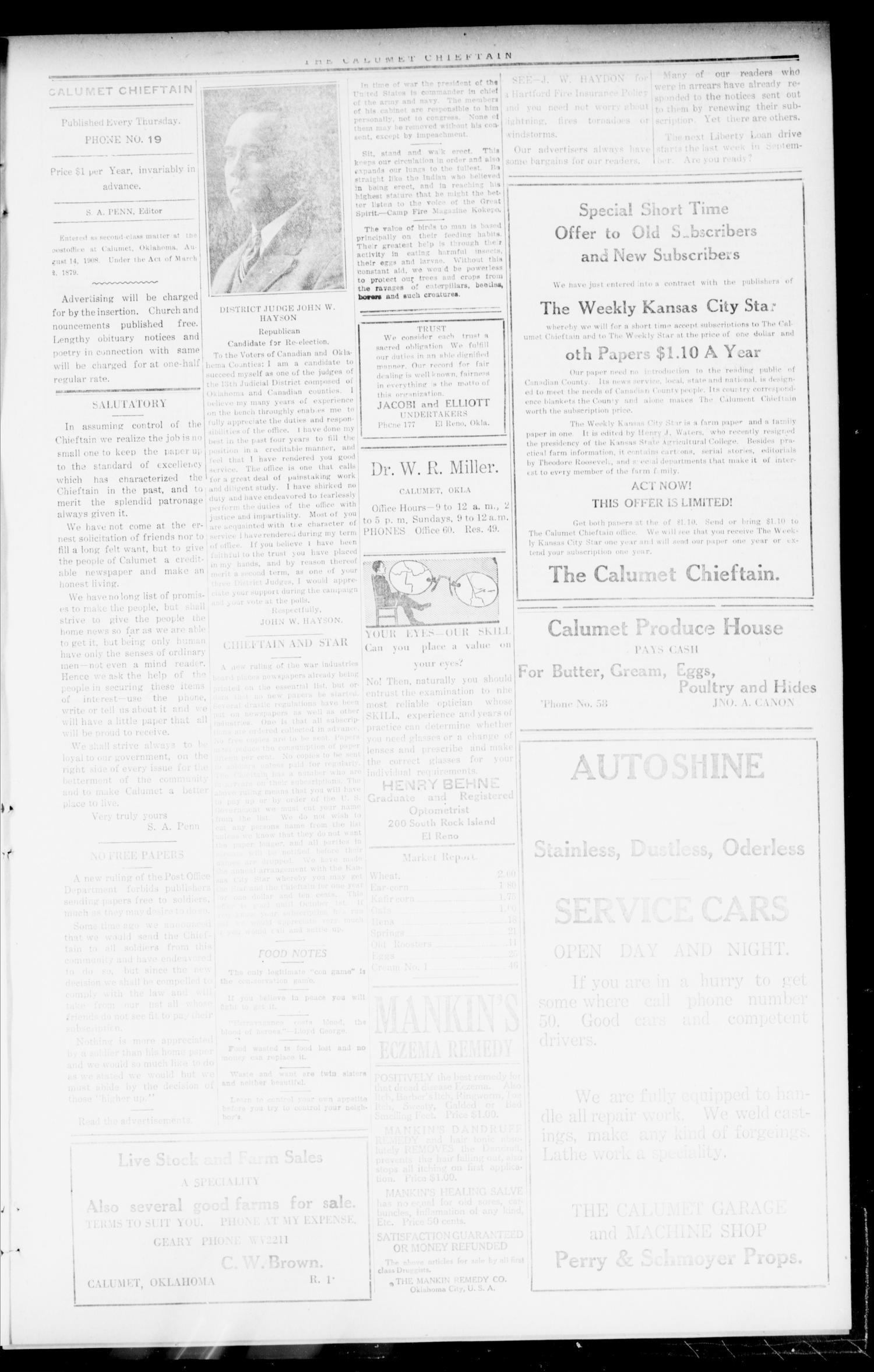 The Calumet Chieftain (Calumet, Okla.), Vol. 11, No. 6, Ed. 1 Thursday, September 5, 1918                                                                                                      [Sequence #]: 3 of 8