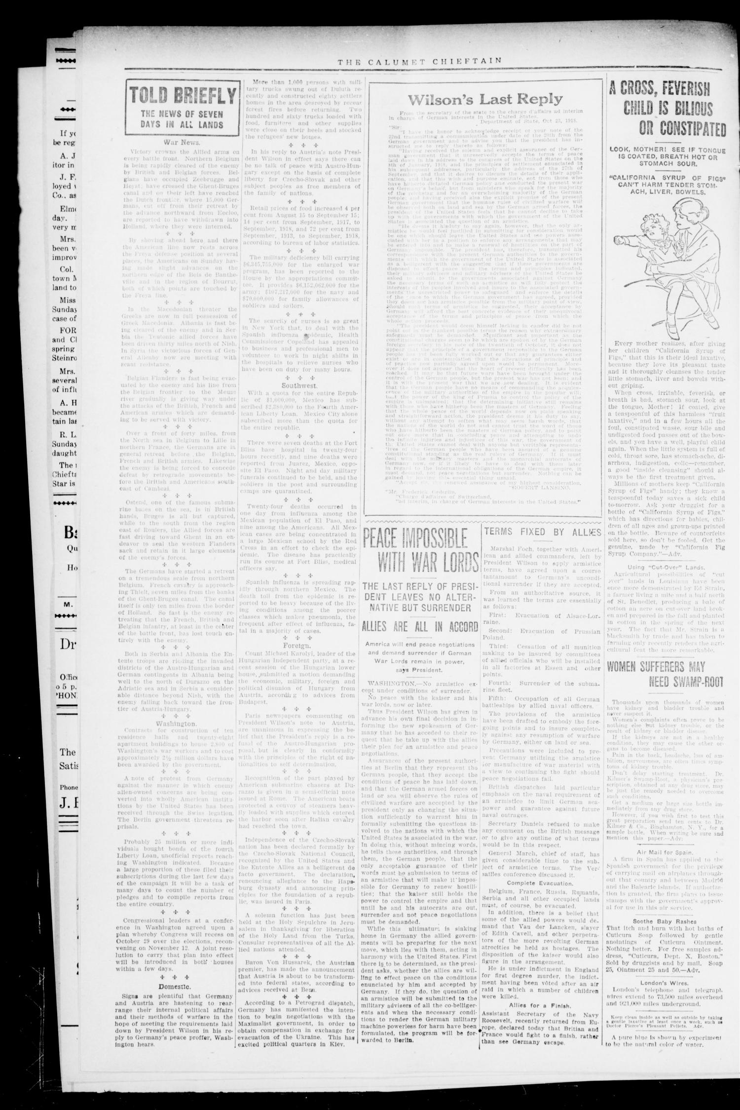 The Calumet Chieftain (Calumet, Okla.), Vol. 11, No. 14, Ed. 1 Thursday, October 31, 1918                                                                                                      [Sequence #]: 2 of 8