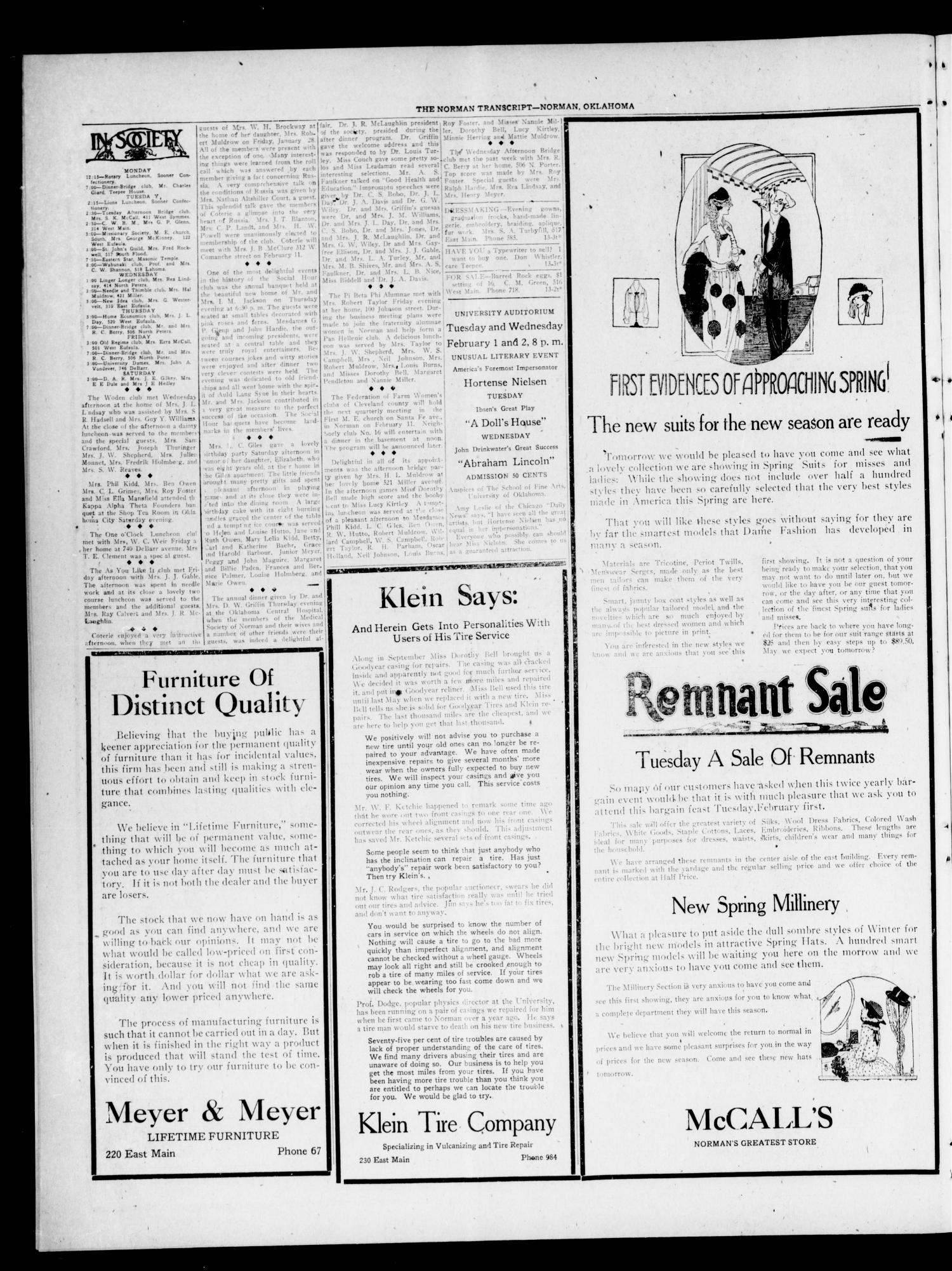 The Norman Transcript (Norman, Okla.), Vol. 9, No. 13, Ed. 1 Sunday, January 30, 1921                                                                                                      [Sequence #]: 4 of 8