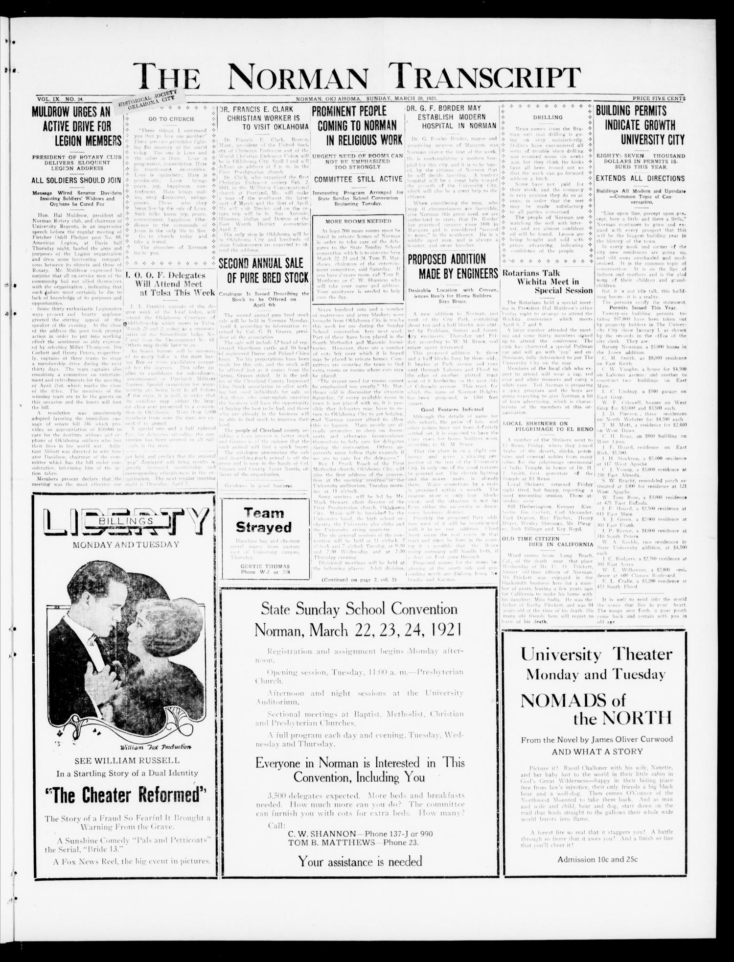The Norman Transcript (Norman, Okla.), Vol. 9, No. 34, Ed. 1 Sunday, March 20, 1921                                                                                                      [Sequence #]: 1 of 12