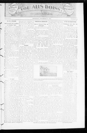Primary view of object titled 'You Alls Doins. (Lexington, Okla.), Vol. 2, No. 44, Ed. 1 Thursday, December 27, 1900'.