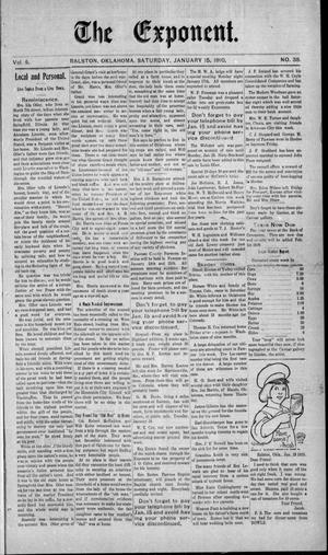 Primary view of The Exponent. (Ralston, Okla.), Vol. 5, No. 38, Ed. 1 Saturday, January 15, 1910