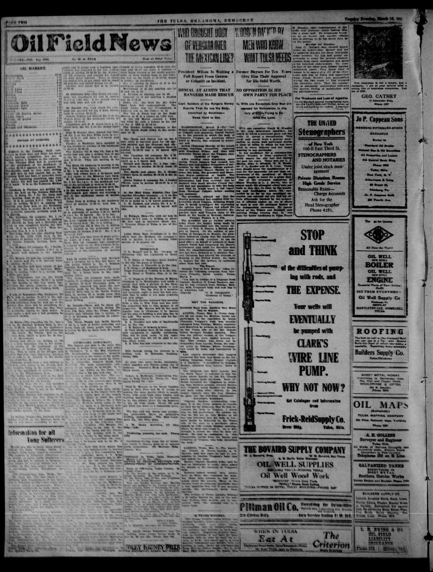 The Tulsa Democrat (Tulsa, Okla ), Vol  10, No  154, Ed  1 Tuesday