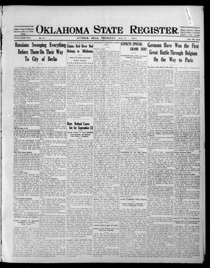 Primary view of object titled 'Oklahoma State Register. (Guthrie, Okla.), Vol. 25, No. 19, Ed. 1 Thursday, August 27, 1914'.