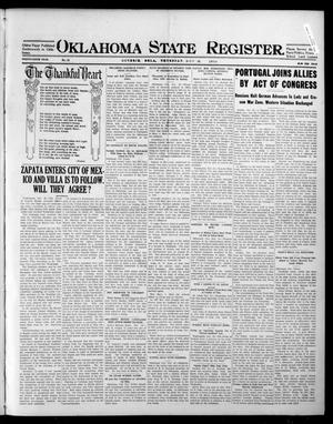 Primary view of object titled 'Oklahoma State Register. (Guthrie, Okla.), Vol. 25, No. 32, Ed. 1 Thursday, November 26, 1914'.