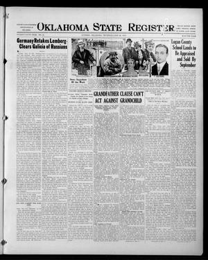 Primary view of object titled 'Oklahoma State Register. (Guthrie, Okla.), Vol. 25, No. 25, Ed. 1 Thursday, June 24, 1915'.