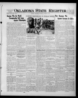 Primary view of object titled 'Oklahoma State Register. (Guthrie, Okla.), Vol. 25, No. 39, Ed. 1 Thursday, October 14, 1915'.
