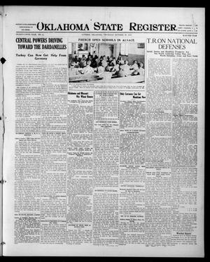 Primary view of object titled 'Oklahoma State Register. (Guthrie, Okla.), Vol. 25, No. 41, Ed. 1 Thursday, October 28, 1915'.