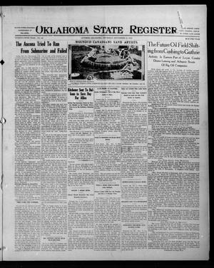 Primary view of object titled 'Oklahoma State Register. (Guthrie, Okla.), Vol. 25, No. 43, Ed. 1 Thursday, November 11, 1915'.