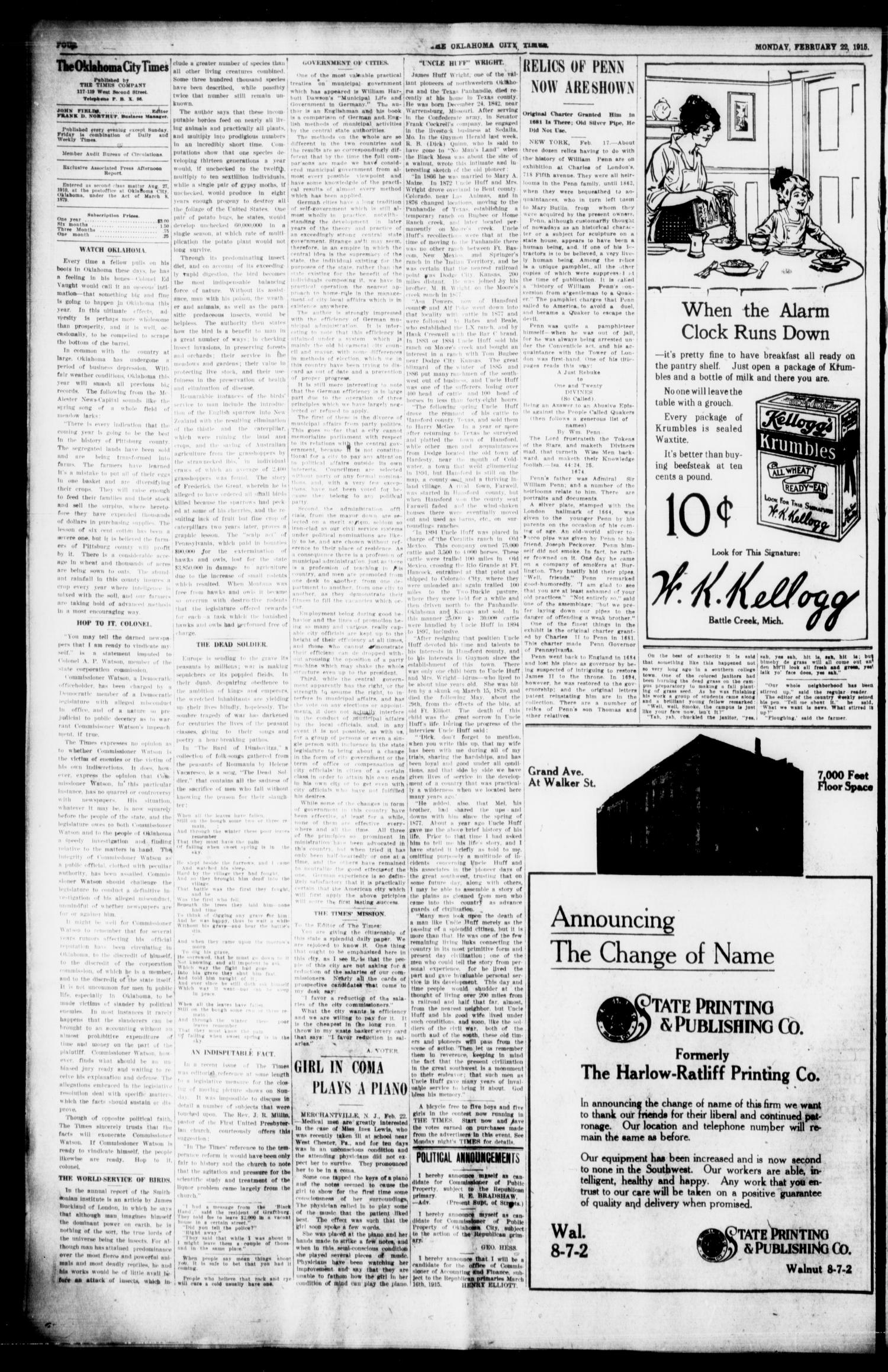 The Oklahoma City Times (Oklahoma City, Okla.), Vol. 26, No. 268, Ed. 1 Monday, February 22, 1915                                                                                                      [Sequence #]: 4 of 8
